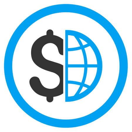 グローバルなビジネスには、アイコンが丸められます。グリフの図のスタイルは、フラット象徴的な二色のシンボル、青と灰色の色、白い背景です 写真素材