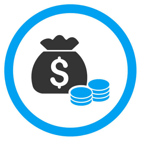 capital gains: Money Bag rounded icon. Glyph illustration style is flat iconic bicolor symbol, blue and gray colors, white background.