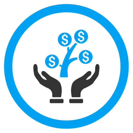 Money Tree Care Hands rounded icon. Glyph illustration style is flat iconic bicolor symbol, blue and gray colors, white background.
