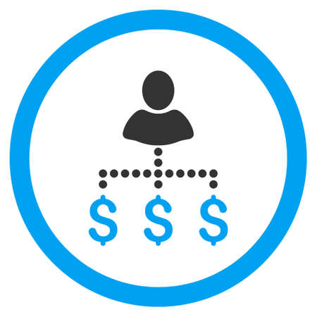 Person Payments rounded icon. Glyph illustration style is flat iconic bicolor symbol, blue and gray colors, white background.