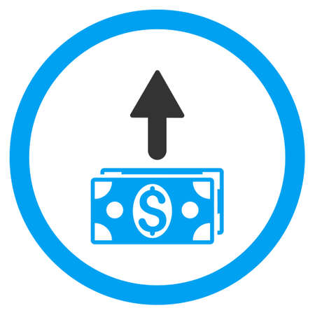 banknotes: Send Banknotes rounded icon. Glyph illustration style is flat iconic bicolor symbol, blue and gray colors, white background.