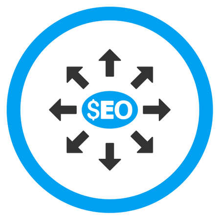 media distribution: Seo Distribution rounded icon. Glyph illustration style is flat iconic bicolor symbol, blue and gray colors, white background. Stock Photo