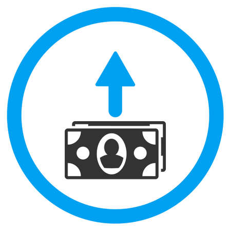 bank activities: Spend Banknotes rounded icon. Glyph illustration style is flat iconic bicolor symbol, blue and gray colors, white background.