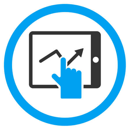 Tap Trend on Pda rounded icon. Glyph illustration style is flat iconic bicolor symbol, blue and gray colors, white background.