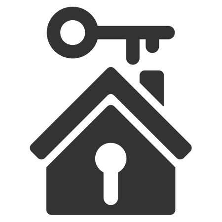secured property: Home Key icon. Vector style is flat iconic symbol, gray color, white background. Illustration