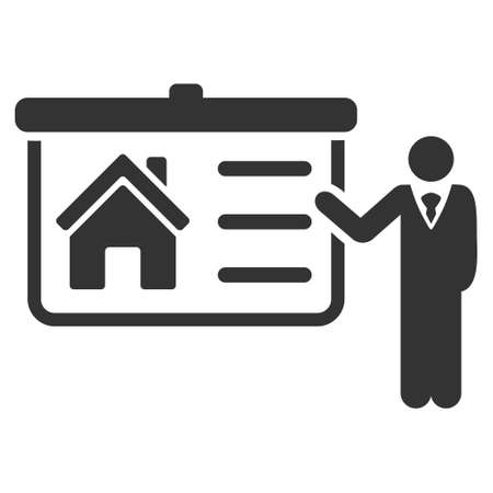 House Presentation icon. Vector style is flat iconic symbol, gray color, white background.
