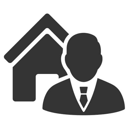 realtor: Realtor icon. Vector style is flat iconic symbol, gray color, white background. Illustration