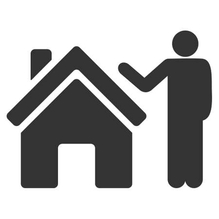 realty: Realty Buyer icon. Vector style is flat iconic symbol, gray color, white background.