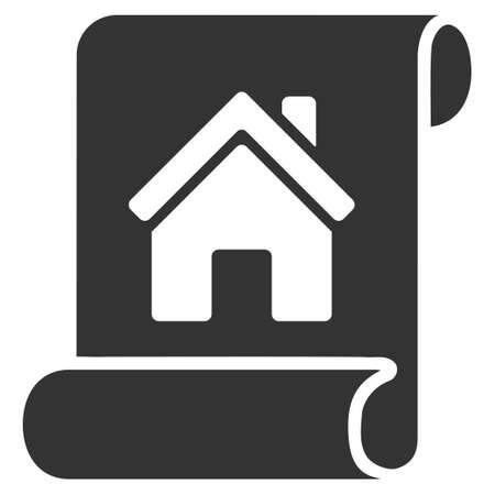 realty: Realty Description Roll icon. Vector style is flat iconic symbol, gray color, white background.