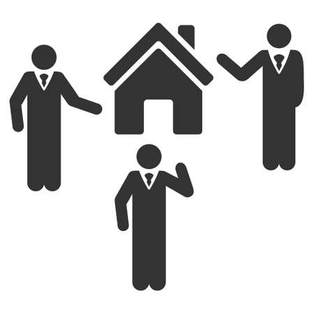 realty: Realty Discuss Persons icon. Vector style is flat iconic symbol, gray color, white background. Illustration