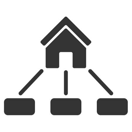 realty: Realty Links icon. Vector style is flat iconic symbol, gray color, white background.