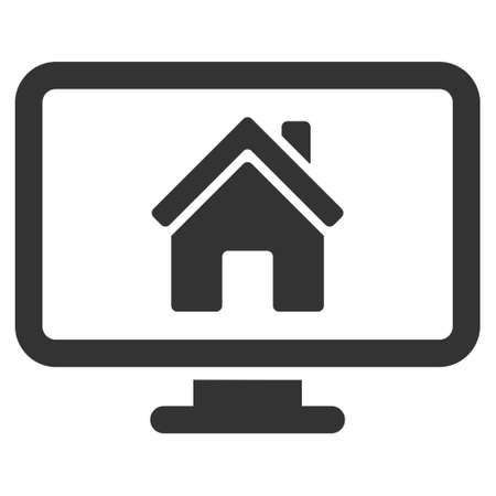 residential settlement: Realty Monitoring icon. Vector style is flat iconic symbol, gray color, white background.