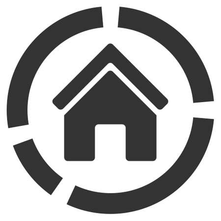 domestic garage: Realty Diagram icon. Glyph style is flat iconic symbol, gray color, white background.