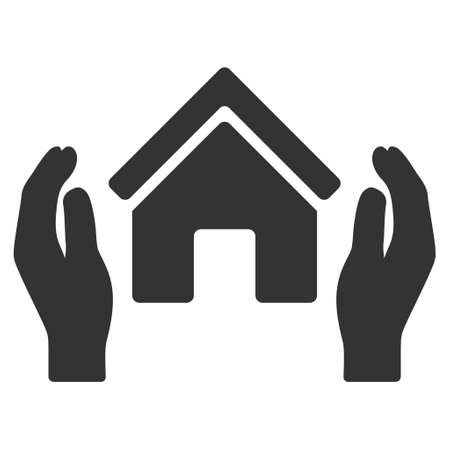 realty: Realty Insurance Hands icon. Glyph style is flat iconic symbol, gray color, white background. Stock Photo