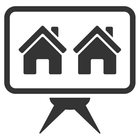 presentaion: Realty Project icon. Glyph style is flat iconic symbol, gray color, white background.