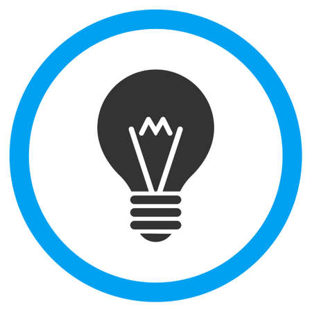 electric bulb: Electric Bulb glyph bicolor rounded icon. Image style is a flat icon symbol inside a circle, blue and gray colors, white background.