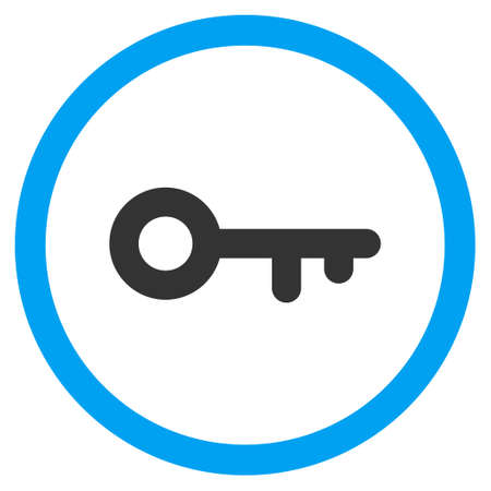 Key glyph bicolor rounded icon. Image style is a flat icon symbol inside a circle, blue and gray colors, white background.