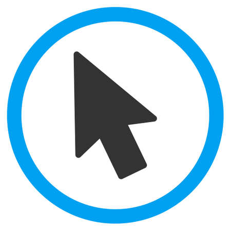 mouse pointer: Mouse Pointer glyph bicolor rounded icon. Image style is a flat icon symbol inside a circle, blue and gray colors, white background.
