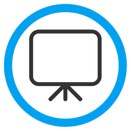 presentation screen: Presentation Screen glyph bicolor rounded icon. Image style is a flat icon symbol inside a circle, blue and gray colors, white background.