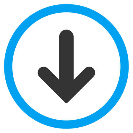 Arrow Down vector bicolor rounded icon. Image style is a flat icon symbol inside a circle, blue and gray colors, white background.