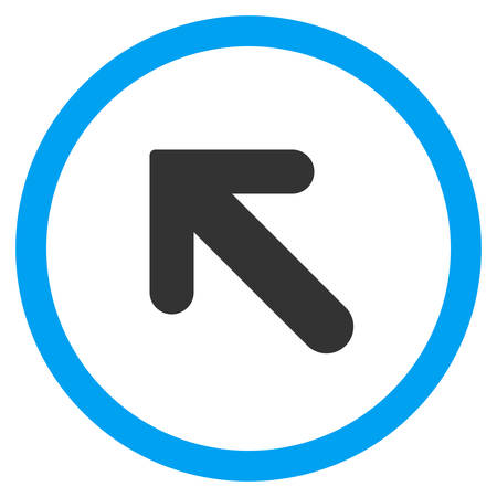 inclination: Arrow Left-Up vector bicolor rounded icon. Image style is a flat icon symbol inside a circle, blue and gray colors, white background.