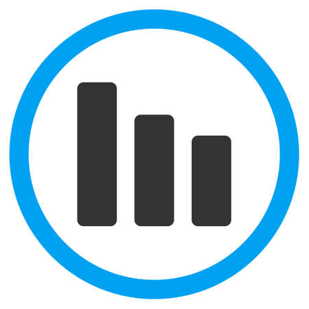 decrease: Bar Chart Decrease vector bicolor rounded icon. Image style is a flat icon symbol inside a circle, blue and gray colors, white background.