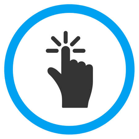Click vector bicolor rounded icon. Image style is a flat icon symbol inside a circle, blue and gray colors, white background.