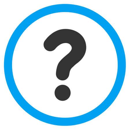 Icône bicolore arrondie de vecteur de question. Le style d'image est un symbole d'icône plate à l'intérieur d'un cercle, de couleurs bleues et grises, fond blanc. Vecteurs