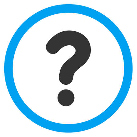 sql: Question vector bicolor rounded icon. Image style is a flat icon symbol inside a circle, blue and gray colors, white background.
