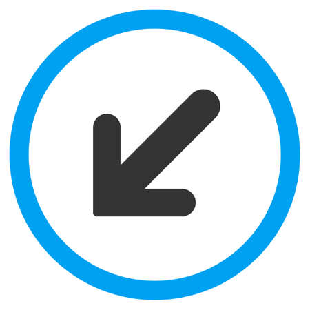 Arrow Left-Down vector bicolor rounded icon. Image style is a flat icon symbol inside a circle, blue and gray colors, white background.