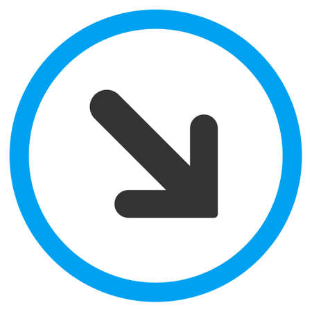 Arrow Right-Down vector bicolor rounded icon. Image style is a flat icon symbol inside a circle, blue and gray colors, white background. Illustration