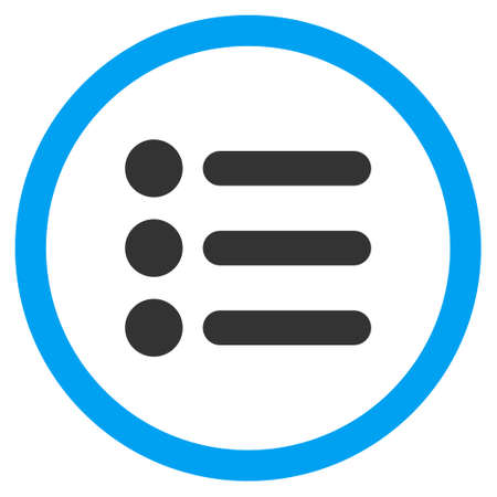 Items vector bicolor rounded icon. Image style is a flat icon symbol inside a circle, blue and gray colors, white background.