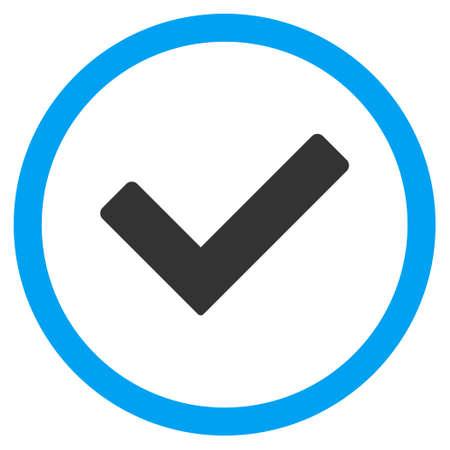 Ok vecteur bicolor icône arrondie. le style d'image est un symbole de l'icône à plat dans un cercle, les couleurs bleu et gris, fond blanc.