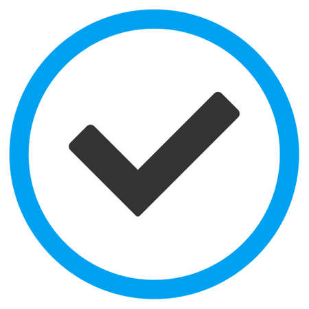validate: Ok vector bicolor rounded icon. Image style is a flat icon symbol inside a circle, blue and gray colors, white background.