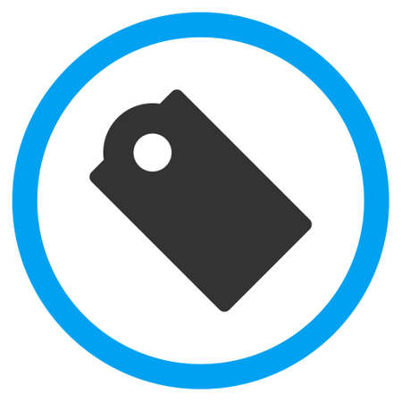 operand: Tag vector bicolor rounded icon. Image style is a flat icon symbol inside a circle, blue and gray colors, white background. Illustration