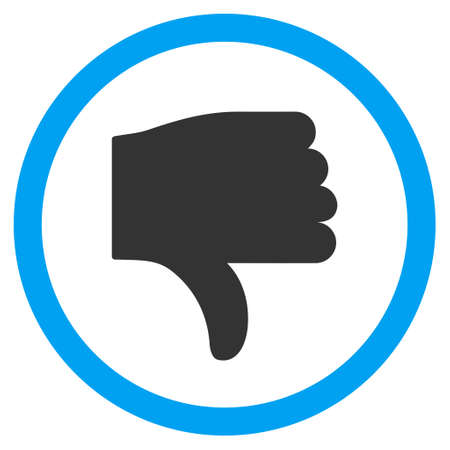 ugly gesture ugly gesture: Thumb Down vector bicolor rounded icon. Image style is a flat icon symbol inside a circle, blue and gray colors, white background.