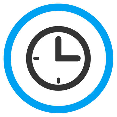 clockface: Time vector bicolor rounded icon. Image style is a flat icon symbol inside a circle, blue and gray colors, white background.