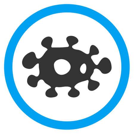 ameba: Vector virus bicolor redondeado icono. estilo de la imagen es un símbolo de icono plana dentro de un círculo, colores azul y gris, fondo blanco.