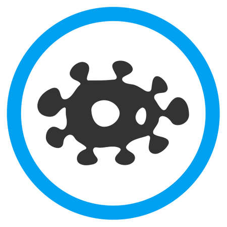 goad: Virus vector bicolor rounded icon. Image style is a flat icon symbol inside a circle, blue and gray colors, white background.