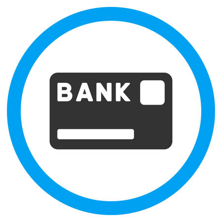 creditcard: Bank Card vector bicolor rounded icon. Image style is a flat icon symbol inside a circle, blue and gray colors, white background. Illustration