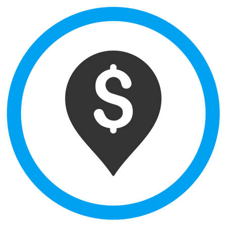 financial position: Banking Map Marker vector bicolor rounded icon. Image style is a flat icon symbol inside a circle, blue and gray colors, white background. Illustration