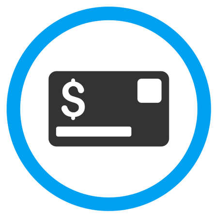 creditcard: Credit Card vector bicolor rounded icon. Image style is a flat icon symbol inside a circle, blue and gray colors, white background.