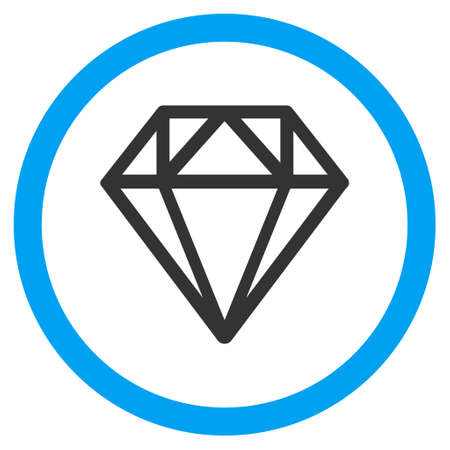 Diamond vector bicolor rounded icon. Image style is a flat icon symbol inside a circle, blue and gray colors, white background.