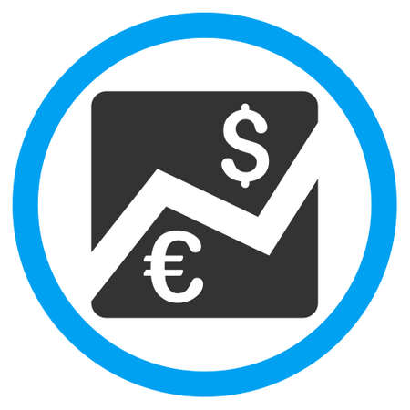 stockmarket: Euro Dollar Chart vector bicolor rounded icon. Image style is a flat icon symbol inside a circle, blue and gray colors, white background.