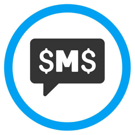 short message service: SMS Message vector bicolor rounded icon. Image style is a flat icon symbol inside a circle, blue and gray colors, white background. Illustration