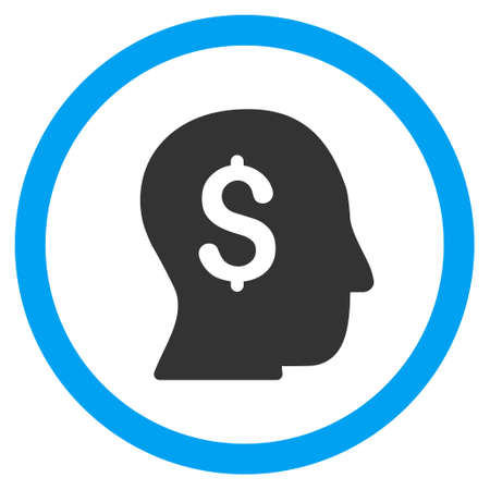 moneymaker: Businessman glyph bicolor rounded icon. Image style is a flat icon symbol inside a circle, blue and gray colors, white background.