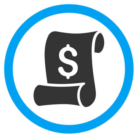 Financial Receipt Roll glyph bicolor rounded icon. Image style is a flat icon symbol inside a circle, blue and gray colors, white background.