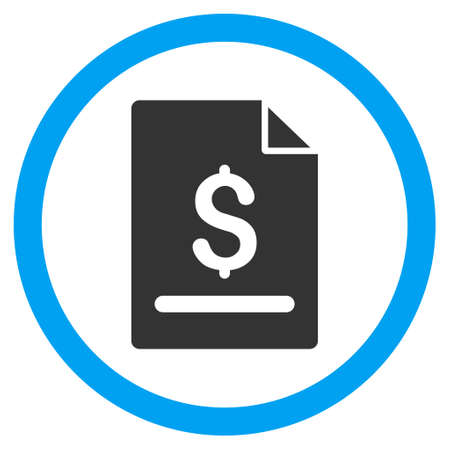 dollar icon: Invoice Page glyph bicolor rounded icon. Image style is a flat icon symbol inside a circle, blue and gray colors, white background.