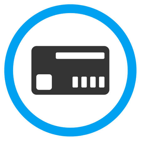 admittance: Ticket glyph bicolor rounded icon. Image style is a flat icon symbol inside a circle, blue and gray colors, white background.
