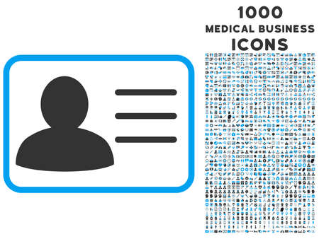 credential: Account Card vector bicolor icon with 1000 medical business icons. Set style is flat pictograms, blue and gray colors, white background.